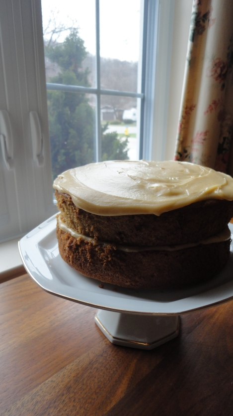 Banana Caramel Cake with Caramel Buttercream Frosting