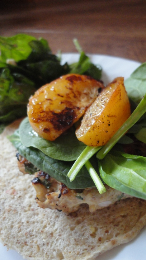 Healthy Chicken Burgers and Grilled Nectarines